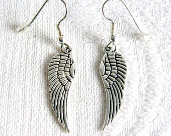 Antiqued Silver or Gold Wing Pierced or Clip On Earrings