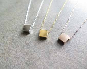 Thank you SALE / Dainty Necklace /Layered necklace / Tiny square necklace / simple square necklace / delicate square necklace / Necklace