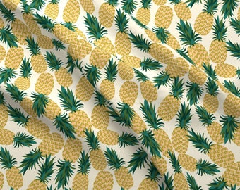 Summer Tropical Pineapple Fruit Fabric - Summer Pineapples By Laura May Designs -Pineapple Summer Cotton Fabric By The Yard With Spoonflower