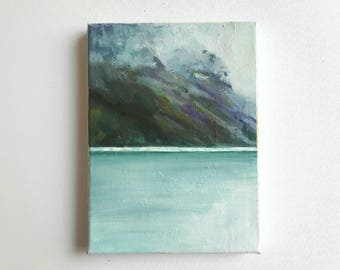 original acrylic painting, landscape painting, lake painting, mountain painting, small painting, tiny painting, acrylics on canvas, boho art