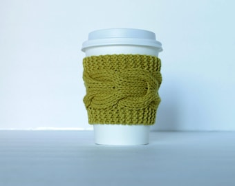 Mustard Yellow Cup Cozy, Sleeve Knitted, Cozie Kozy, Golden Glow, Coffee Tea Soda Beer Can, Gift Stocking Stuffer
