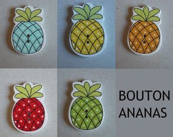 Pineapple button wooden two hole scrapbooking
