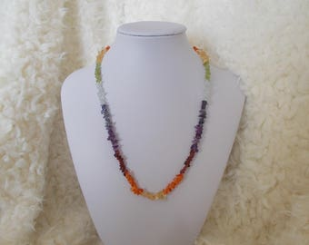 Necklace gemstone 7 chakra colors