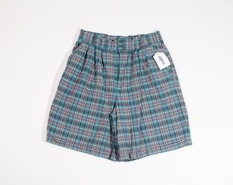 Women's Size 14 (Modern Size 10 30x7) CASABLANCA Green Plaid Shorts High Waist Shorts High Waisted Shorts mom Shorts Golf Shorts 90s Shorts