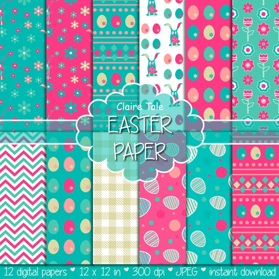 """Easter digital paper: """"EASTER PAPER"""" with easter eggs, bunnies, flowers, tulips, chevrons, gingham pattern in pink, blue and gold"""