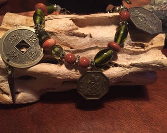 Amazing Green & Gold Buddha Charm bracelet/ Goldstone beads/ Glass Beads