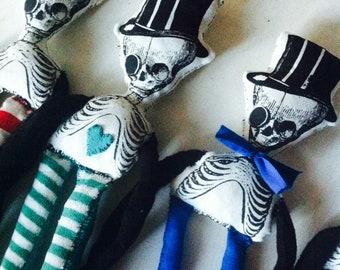 Mr. A. - Skeleton - Recycling Art rag doll