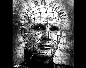 "Print 8x10"" - Pinhead - Hellraiser Cenobite Horror Dark Art Needles Science Fiction Leviathan Box Hell Evil Monster Creature Clive Barker"