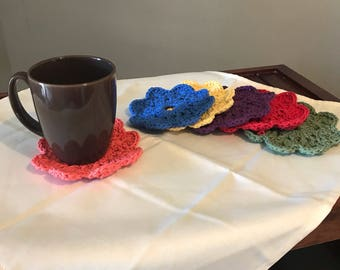Hand Crocheted Flower Coasters-set of 6