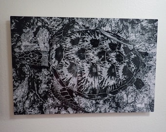 Turtle black and white 16x24 metal print