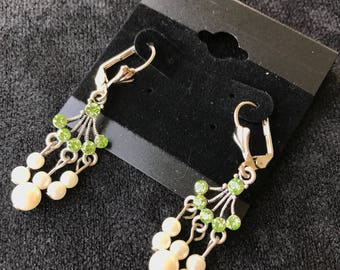 Green Swarovski Crystal & Pearl Earrings
