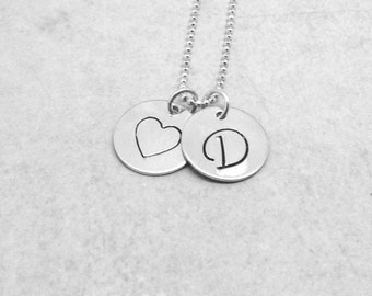 Large Initial Necklace, Heart Necklace, Monogram Necklace, Charm Necklace, Personalized Jewelry, Sterling Silver Jewelry, D, All Letters