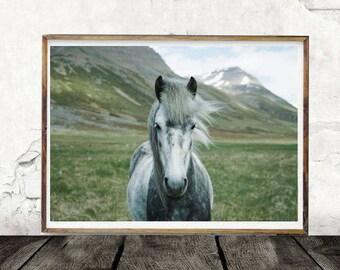 Horse Digital Print, Green Mountains, Digital Download, Animal