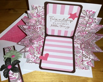 Friend, Card, 3-D, Explosion, Pop Up, Friendship, Feminine, Handmade, 3D, Pop-Up, Folded, Pink, Paisley, Fancy
