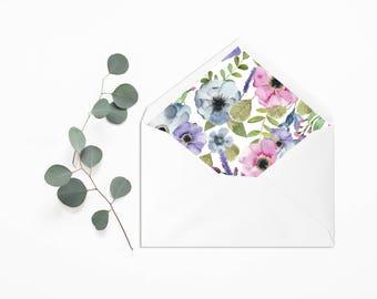 Envelope Liner - Wedding Liner Envelope - Wedding Envelope - Envelope Liner - Floral Envelope Liner - Flowers Wedding Invitation - Rustic