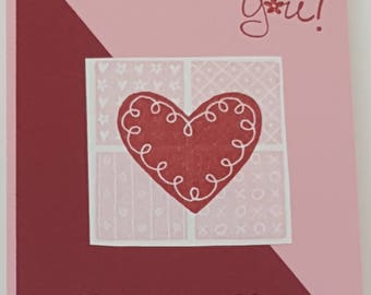 """Valentine """"Love You"""" Greeting Card Handcrafted with Stampin' Up stamps"""