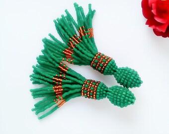 Green gold beaded earrings tassel Earrings Oscar Short beaded earrings earrings Oscar Trendy jewelry