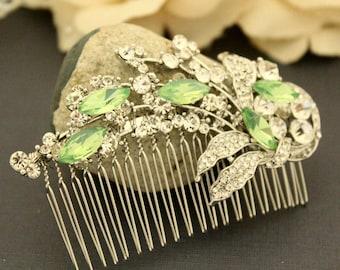 Wedding Hairpiece Leaf Bridal Hair Comb Leaf Comb Swarovski Crystal Vintage Wedding Hair Accessory  Wedding hair comb Bridal hair piece clip