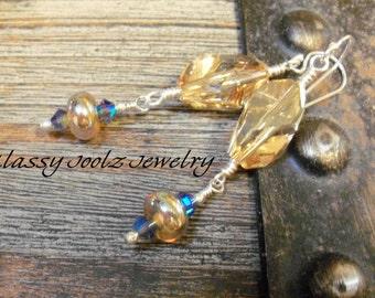 Crystal and Lampwork Earrings-Swarovski Crystals-Artisan Earrings-Artisan Jewelry-Unique Cube Shaped Swarovski Crystals-Fall Earrings-SRAJD