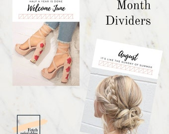 PLANNER Month dividers - printables - planner accessories 2018 - monthly girl dividers - a5