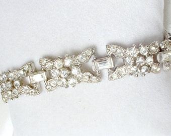 TRUE Vintage Art Deco Bracelet, Pave Baguette Crystal Rhinestone Link Flapper Bridal Bracelet, Silver Paste 1920s Wedding Antique Jewelry