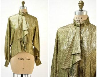 80s Metallic Gold Shirt size Ruffle High Collar Button Down Shirt// Vintage Gold Shirt by Morton Myles Neiman Marcus
