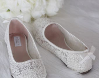 Women Wedding Shoes, Bridesmaid Shoes - IVORY Lace flats with DAINTY BOW
