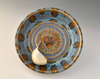 Garlic Grater One of a Kind Wheelthrown  Oil Dipping Dish/Saucer by NorthWind Pottery