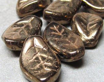 Czech Glass Beads 14 x 9mm Shiny Solid Etched Bronze Gold Leaves  - 10 Pieces