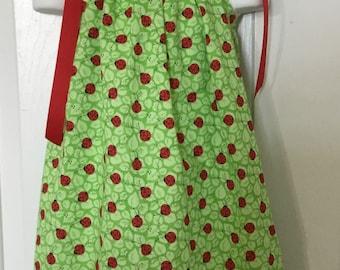 Green Ladybug Pillowcase Dress Size 2T