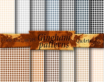 Gingham Digital Paper - Seamless Patterns - Buffalo Check Tablecloth - Gingham Plaid Backgrounds Gray, Brown, Black, Charcoal, Khaki, Peach