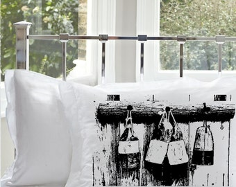 SALE - 30% off One (1) Black ships Buoys White Standard Nautical Pillowcase pillow cover