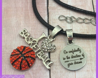 Basketball Necklace - End of Season Basketball Gift - Team Gifts - Graduation - Senior Night - Go Confidently In The Direction - I Heart