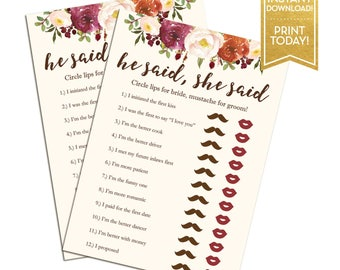 He Said She Said Bridal Shower Game - Fall Floral Printable Bridal Shower Game Cards - Instant Download - LR1086
