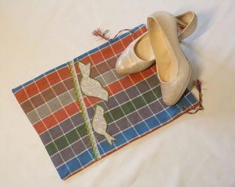 Linen shoe bag, travel shoe bag, laundry bag, bag for shoe storage, bag for changing shoes, bag with birds shoes