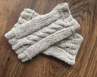 Fair trade cashmere cabled tan knit wrist warmers