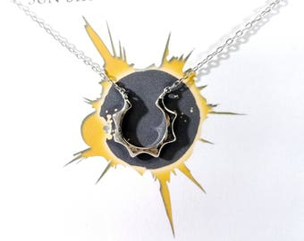 Solar Eclipse Necklace, Sun Necklace in Sterling Silver