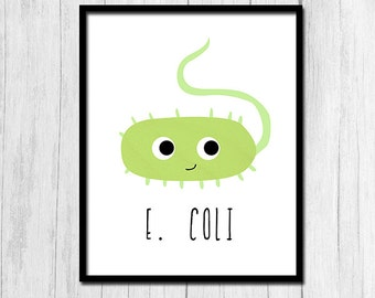 Biology Print E. Coli Art Digital Download Biology Gifts Classroom Art Germ Art Bacteria Art E. Coli Art Instant Download Biology Printables