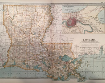 Original 1903 map of Louisiana with New Orleans inset