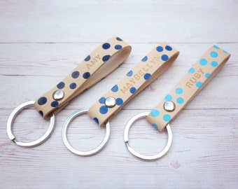 Personalized Blue Polka Dots Leather Keychain//Custom Color Leather Key Fob//Colourpop polkadot//Gifts for bridesmaid//Girlfriend gifts