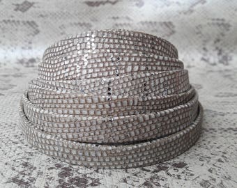 lined 10 mm sand border silver tone of high quality European leather strap