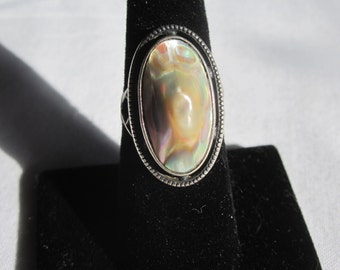 Vintage Sterling and Abalone Blister Pearl Ring