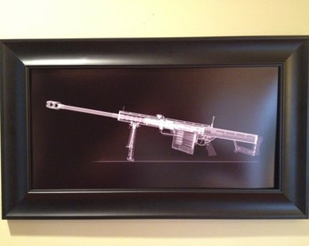 Barrett M82 Sniper rifle CAT scan gun print - ready to frame