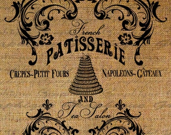 French Patisserie And Tea Salon Ornate Frame Pastry Bakery Cake Digital Image Download Transfer To Pillows Tote Tea Towels Burlap No. 2751