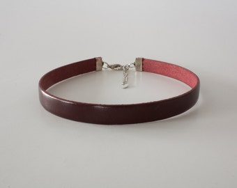 Blood Red Deep Burgundy Red Leather Choker Necklace