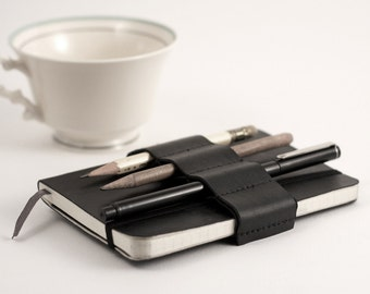 Mini Bandolier // black leather // (a better pencil case, journal pen holder, book strap, pen loop, pencil roll, pen bandolier)