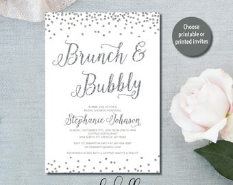 Brunch and Bubbly Bridal Shower Invitation bridal brunch invite brunch invitation wedding shower brunch brunch shower printable printed