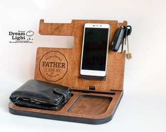Desk Organizer,Docking Station,Charging Station, Phone Stand,Gifts for Dad,Fathers Day Gift,Mens birthday gift,Gift for husband,Gift for Men