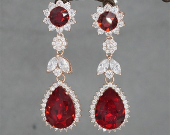 Red crystal earrings,red bridal earrings, swarovski earrings,red earrings,crystal earrings, red drop earrings,swarovski siam crystal