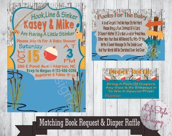 Fishing Baby Shower Invitation - Fish Theme - Its A Boy - Baby Shower Invitation - Boy Baby Shower - Baby Boy On The Way - Printable